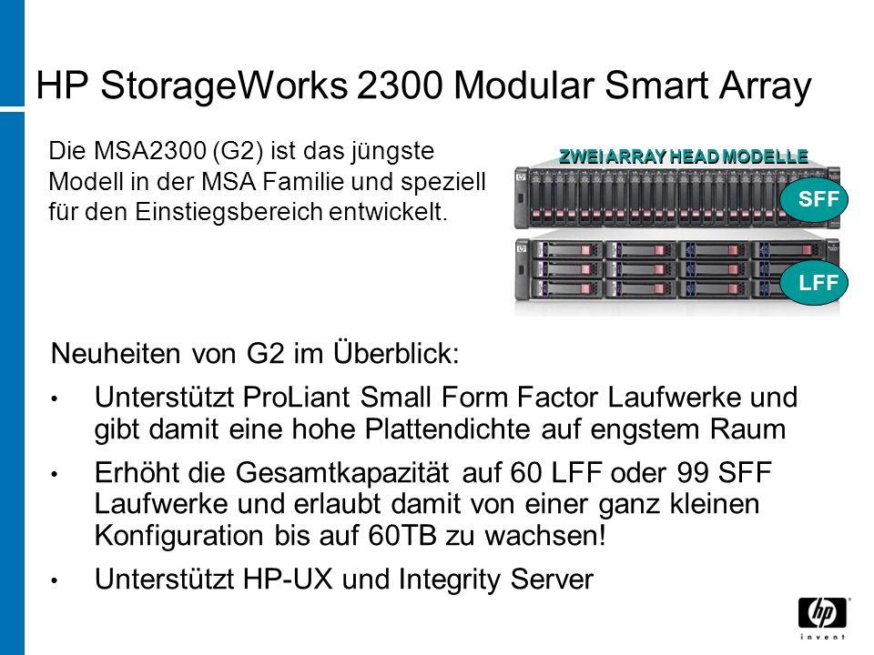 HP StorageWorks 2300 Modular Smart Array Neuheiten von G2 im Überblick: Unterstützt ProLiant Small Form Factor Laufwerke und gibt damit eine hohe Plat