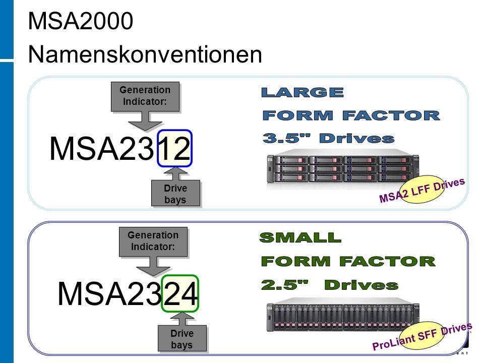 Drive bays MSA2312 Generation Indicator: Generation Indicator: MSA2 LFF Drives Drive bays MSA2324 Generation Indicator: Generation Indicator: ProLiant SFF Drives MSA2000 Namenskonventionen