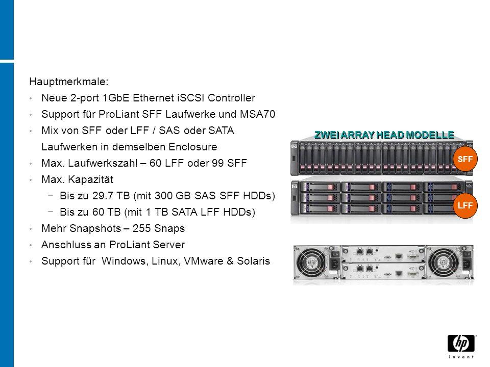 Hauptmerkmale: Neue 2-port 1GbE Ethernet iSCSI Controller Support für ProLiant SFF Laufwerke und MSA70 Mix von SFF oder LFF / SAS oder SATA Laufwerken in demselben Enclosure Max.
