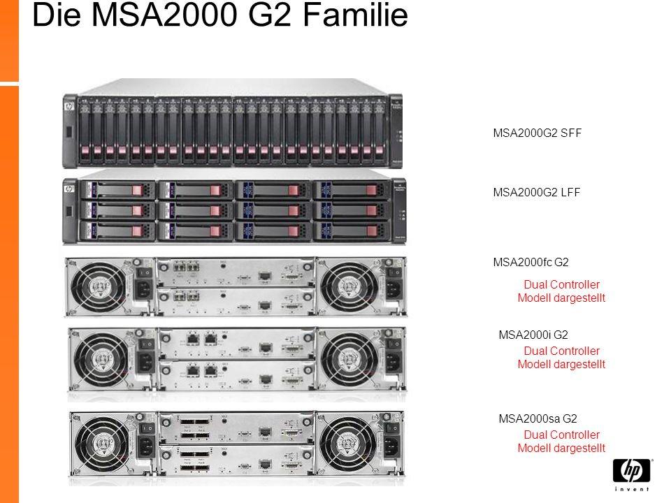 MSA2000G2 LFF MSA2000fc G2 MSA2000i G2 Dual Controller Modell dargestellt MSA2000sa G2 MSA2000G2 SFF Dual Controller Modell dargestellt Die MSA2000 G2