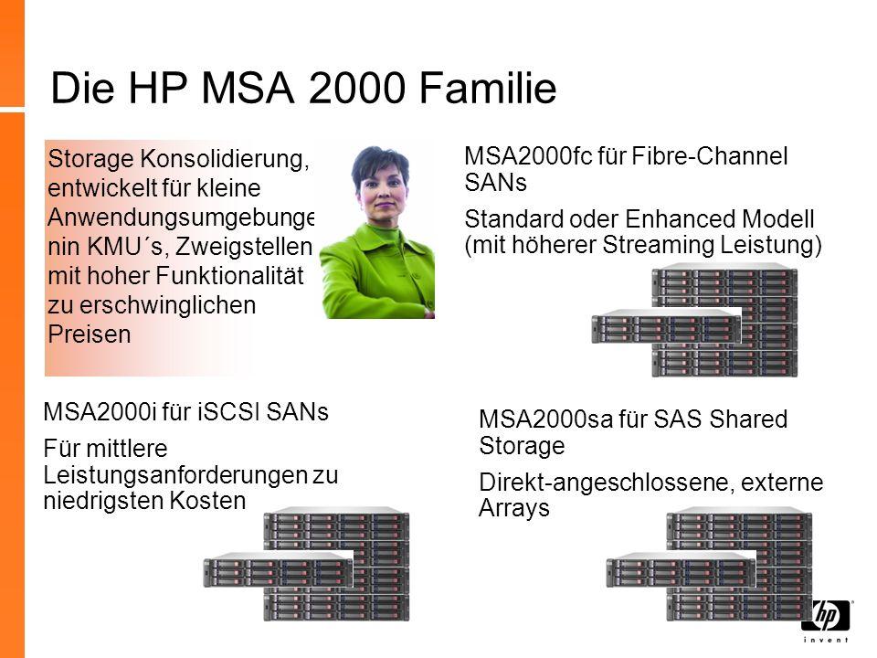 3 HP StorageWorks portfolio MSA Familie Aussergewöhnliche TCO < 240 TB Storage Konsolidierung + Disaster Recovery Vereinfachung durch Virtualisierung Windows, HP-UX, Linux, + mehr Always-on vVerfügbarkeit < 851+ TB Rechenzentrumskonsolidierung+ Disaster Recovery Large-scale Oracle/SAP Applikationen HP-UX, Windows, + 20 weitere, inklusive NonStop & Mainframe Kostengünstige Konsolidierung < 60 TB (MSA2300) 4GB FC oder 1GbE iSCSI SAS & SATA tgemischt 2300: SFF & LFF drives Controller-baseierende snapshot/clone Funktionen Windows, Linux, VMware WEB, Exchange, SQL Business Continuity und Verfügbarkeit Konsolidierung und Performance XP Familie EVA Familie XP12000 < 332+ TB EVA4400 All-in-One Familie Simple Unified Storage < 12 TB iSCSI SAN und Optimiiertes NAS mit integrierten Snapshots, Backup, Replication, und einfachster Verwaltung.