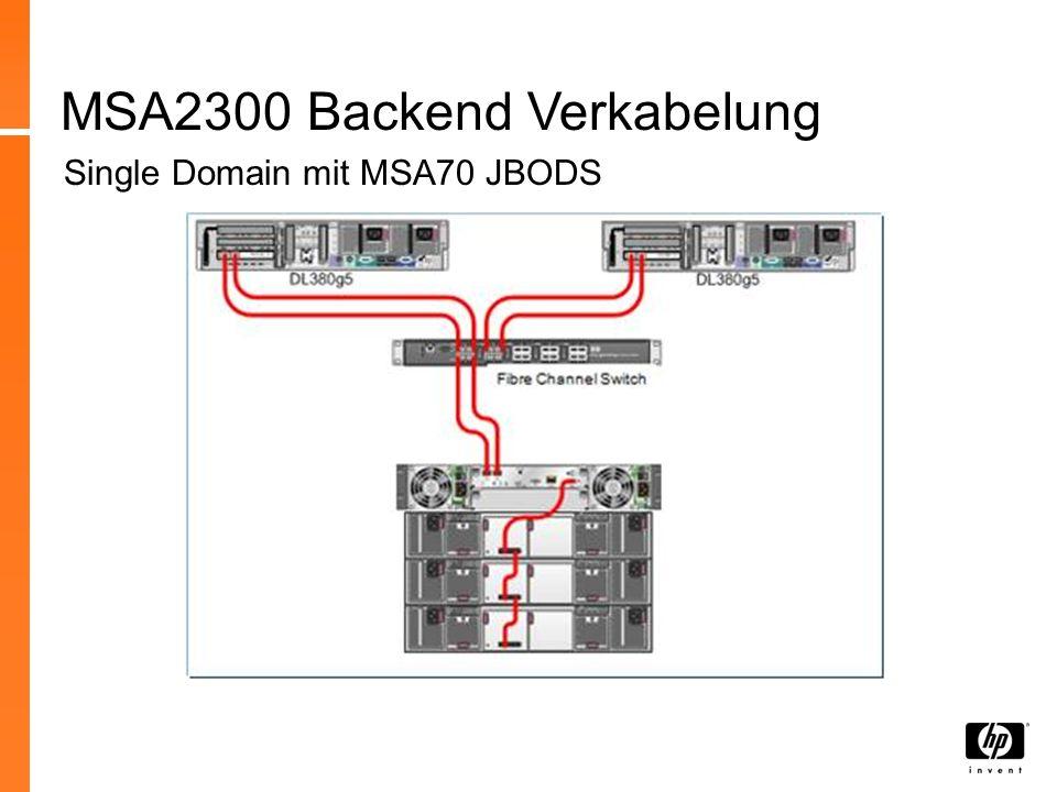 MSA2300 Backend Verkabelung Single Domain mit MSA70 JBODS