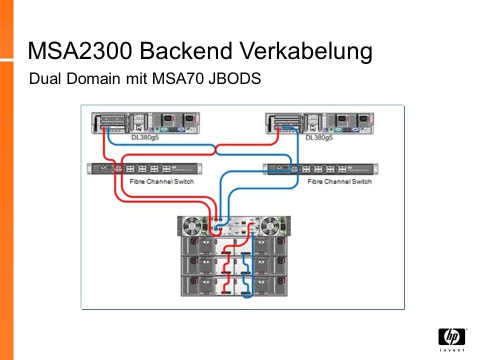 MSA2300 Backend Verkabelung Dual Domain mit MSA70 JBODS