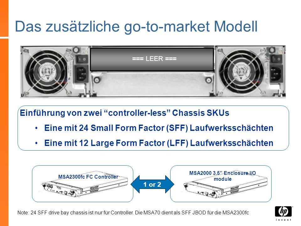MSA2300fc FC Controller Das zusätzliche go-to-market Modell Einführung von zwei controller-less Chassis SKUs Eine mit 24 Small Form Factor (SFF) Laufw