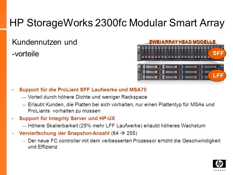 HP StorageWorks MSA2000i G2 Hauptmerkmale: Neue 2-port 1GbE Ethernet iSCSI Controller Support für ProLiant SFF Laufwerke und MSA70 Mix von SFF oder LFF / SAS oder SATA Laufwerken in demselben Enclosure Max.