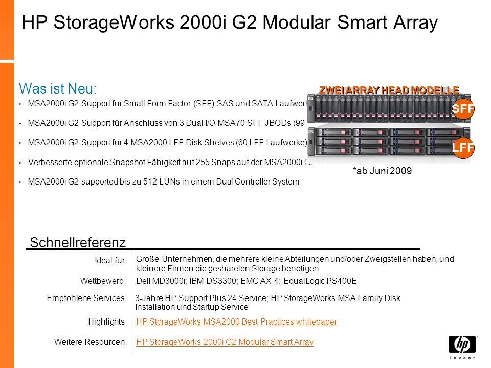 HP StorageWorks MSA2000sa G2 Hauptmerkmale: Neue 4-port 3 Gb SAS Controller Support für ProLiant SFF Laufwerke und MSA70 Mix von SFF oder LFF / SAS oder SATA Laufwerken in demselben Enclosure Max.