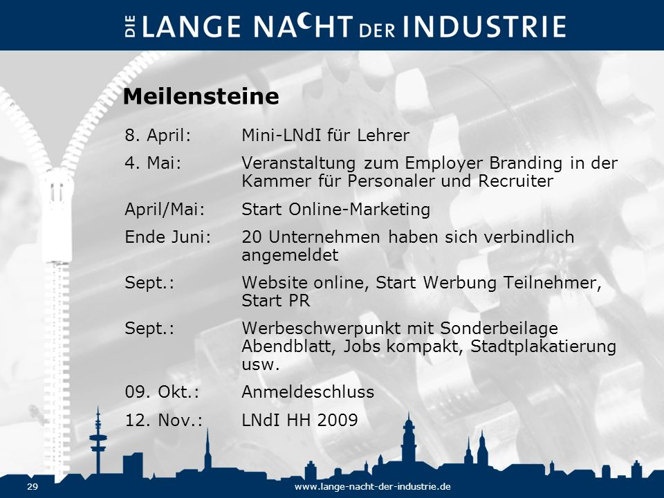 29www.lange-nacht-der-industrie.de Meilensteine 8. April:Mini-LNdI für Lehrer 4. Mai:Veranstaltung zum Employer Branding in der Kammer für Personaler