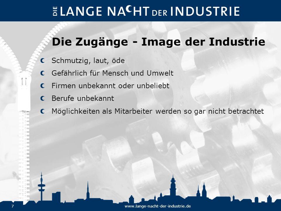 7www.lange-nacht-der-industrie.de Die Zugänge - Image der Industrie Schmutzig, laut, öde Gefährlich für Mensch und Umwelt Firmen unbekannt oder unbeli