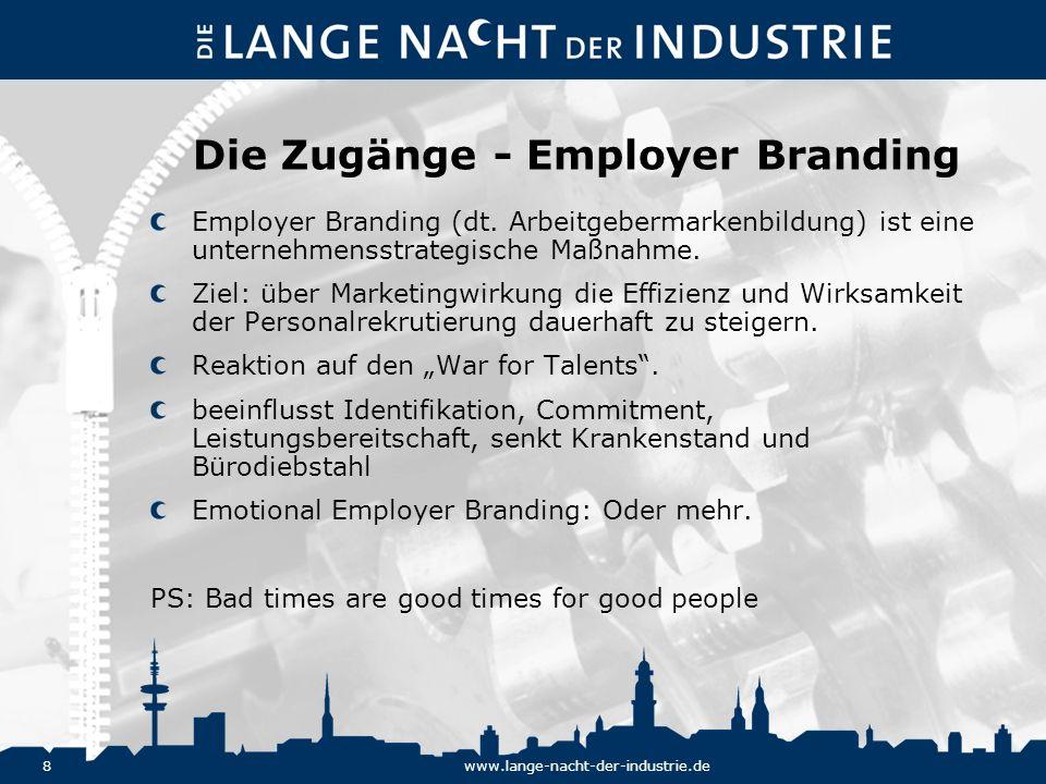 8www.lange-nacht-der-industrie.de Die Zugänge - Employer Branding Employer Branding (dt. Arbeitgebermarkenbildung) ist eine unternehmensstrategische M