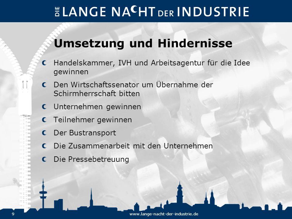 30www.lange-nacht-der-industrie.de Die Vorbereitungen Warm Up in der Handelskammer für Personalleiter und Recruiter.