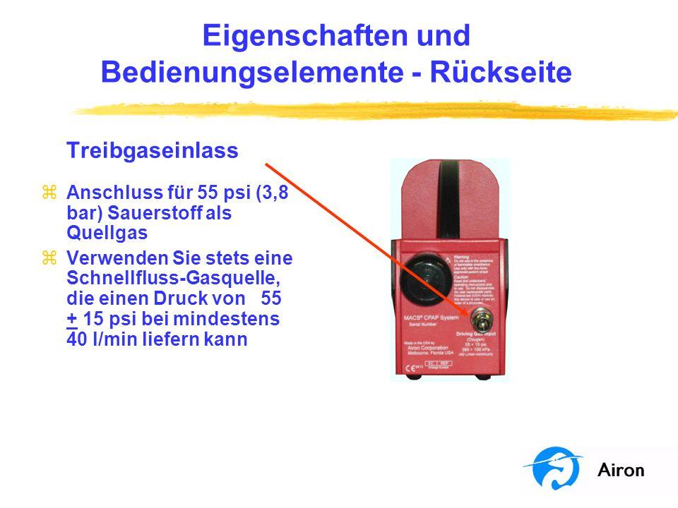 Eigenschaften und Bedienungselemente Rückseite Luftmitführung zAußenluft wird mitgeführt und intern mit Gas vermischt zDas externe Gehäuse enthält einen Luftfilter zDer Austausch des Luftfilters ist Bestandteil der vorbeugenden Wartung