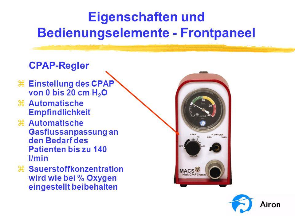 Eigenschaften und Bedienungselemente Frontpaneel % Oxygen-Regler zAuswahl der gelieferten Sauerstoffkonzentration y 65% y 100% zEinstellung der Sauerstoffkonzentration für Spontanatmung