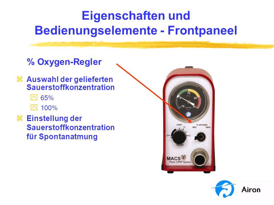 Anwendung am Patienten Überwachung des Patienten zBeurteilen Sie gemäß Ihrem Protokoll y die Patienten-Atemfrequenz y Komfort y Sauerstoffanreicherung y CO 2