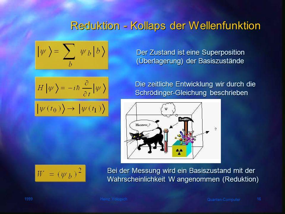 Quanten-Computer 1999Heinz Volopich15 Interferenz von Wahrscheinlichkeiten A CBc b a a,b,c... Wahrscheinlichkeitsamplituden (komplexe Zahlen) Wahrsche
