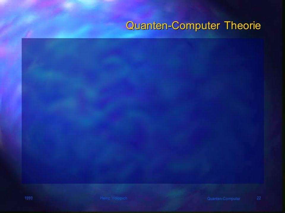 Quanten-Computer 1999Heinz Volopich21 NOT, sqrt(NOT), controlled NOT = XOR
