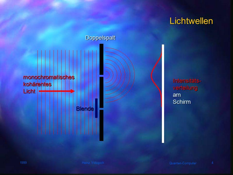 Quanten-Computer 1999Heinz Volopich14 Quantenmechanik Schrödinger-Gleichung Hamilton-Operator = Energie-Operator WellenfunktionAufenthaltswahrscheinlichkeit Imaginäre Einheit Planksches Wirkungsquantum Zeitableitung der Wellenfunktion