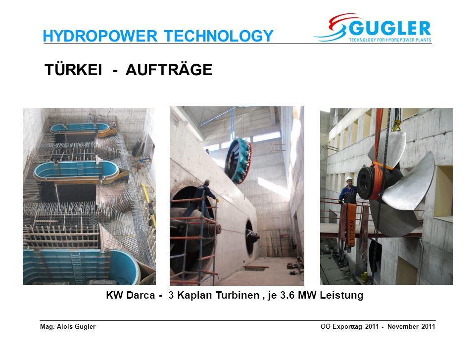 HYDROPOWER TECHNOLOGY Mag. Alois GuglerOÖ Exporttag 2011 - November 2011 KW Darca - 3 Kaplan Turbinen, je 3.6 MW Leistung TÜRKEI - AUFTRÄGE
