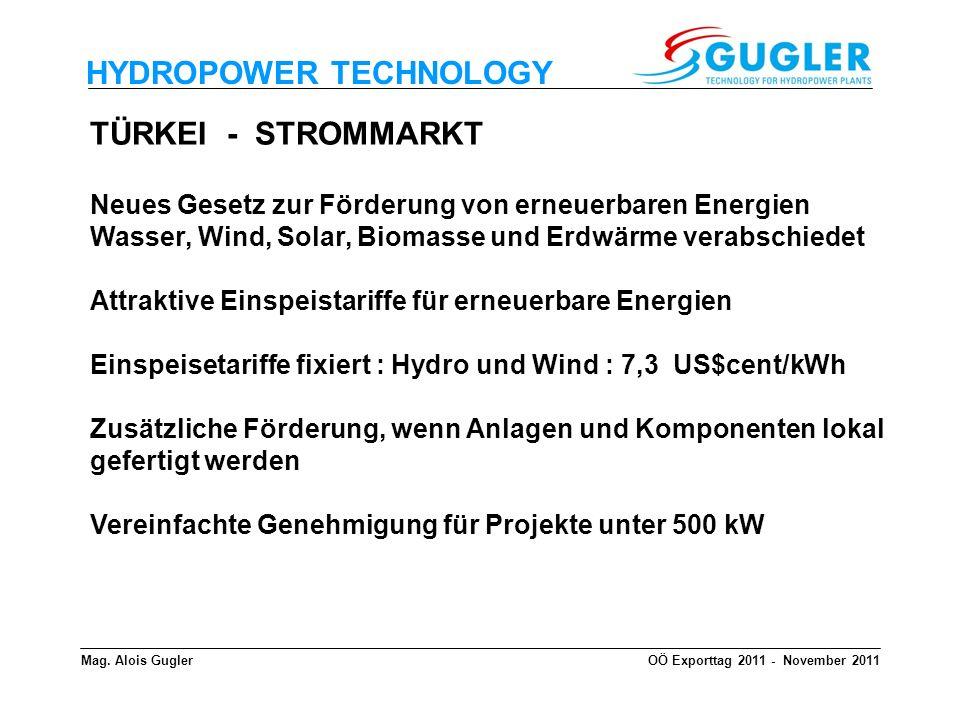 HYDROPOWER TECHNOLOGY TÜRKEI - STROMMARKT Neues Gesetz zur Förderung von erneuerbaren Energien Wasser, Wind, Solar, Biomasse und Erdwärme verabschiede
