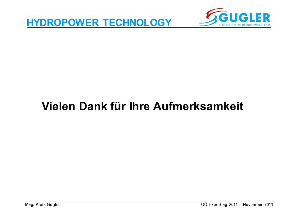 HYDROPOWER TECHNOLOGY Mag. Alois GuglerOÖ Exporttag 2011 - November 2011 Vielen Dank für Ihre Aufmerksamkeit