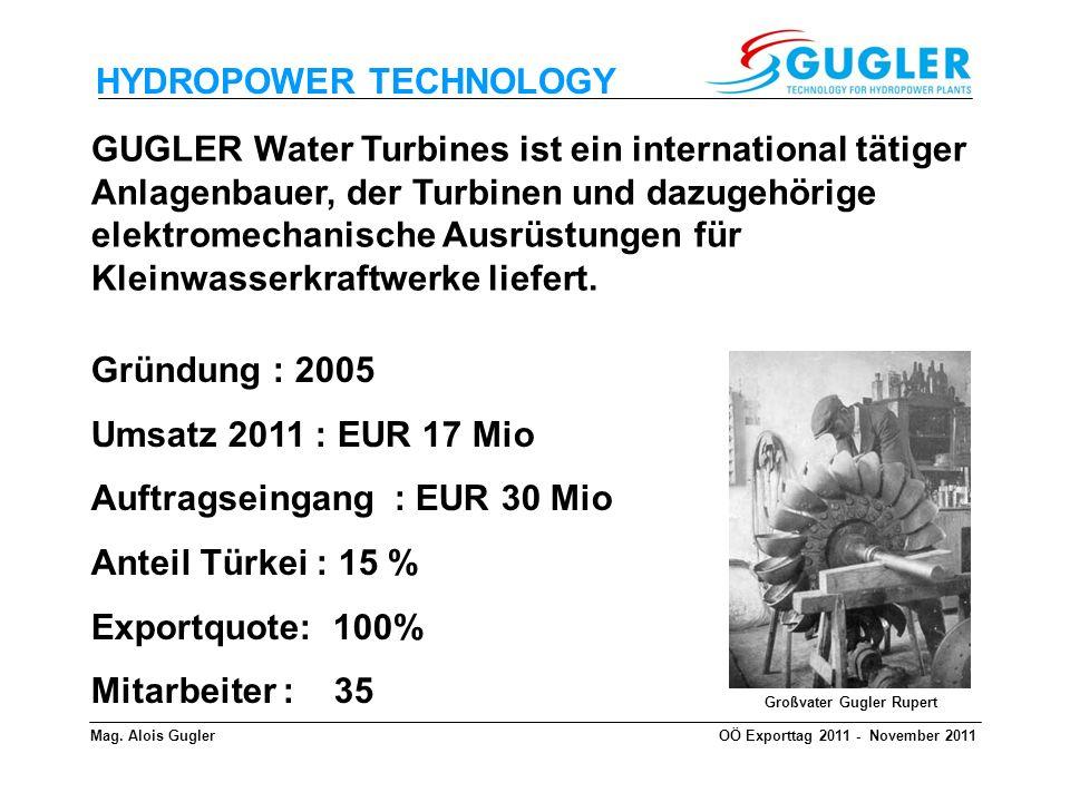 HYDROPOWER TECHNOLOGY GUGLER Water Turbines steht für : alle Arten von Wasserturbinen von 5 kW bis 10 MW alle elektromechanische Ausrüstungen aus einer Hand Modernisierung von bestehenden Kraftwerken Montage und Inbetriebnahme schlüsselfertige Kleinwasserkraftwerke Betreiber Know - How weltweite Aktivitäten Outsourcing der Fertigung Mag.