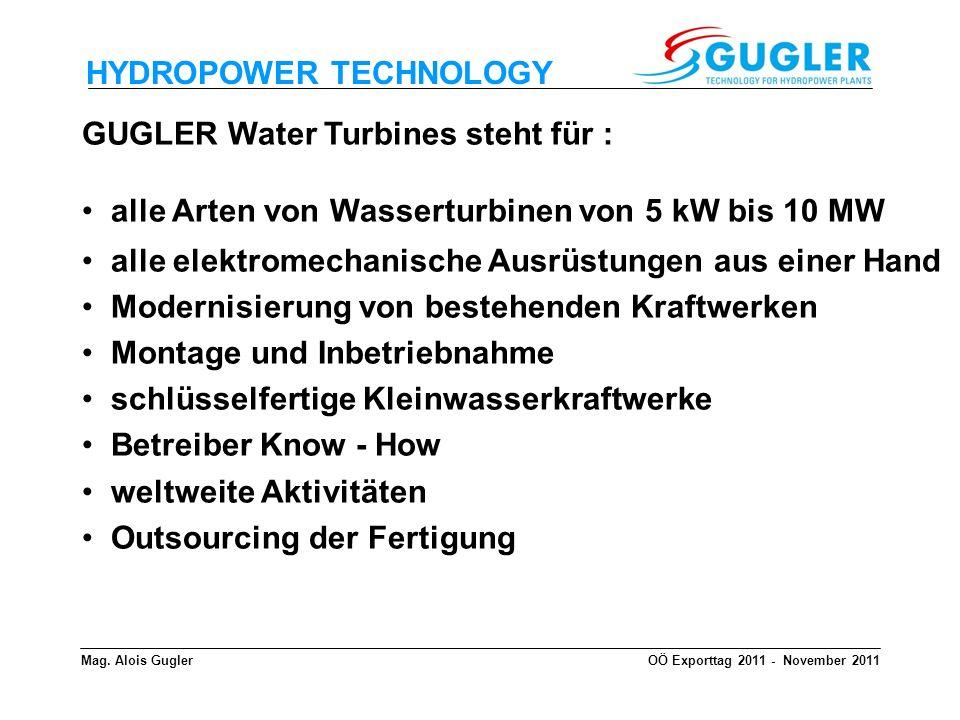HYDROPOWER TECHNOLOGY GUGLER Water Turbines steht für : alle Arten von Wasserturbinen von 5 kW bis 10 MW alle elektromechanische Ausrüstungen aus eine