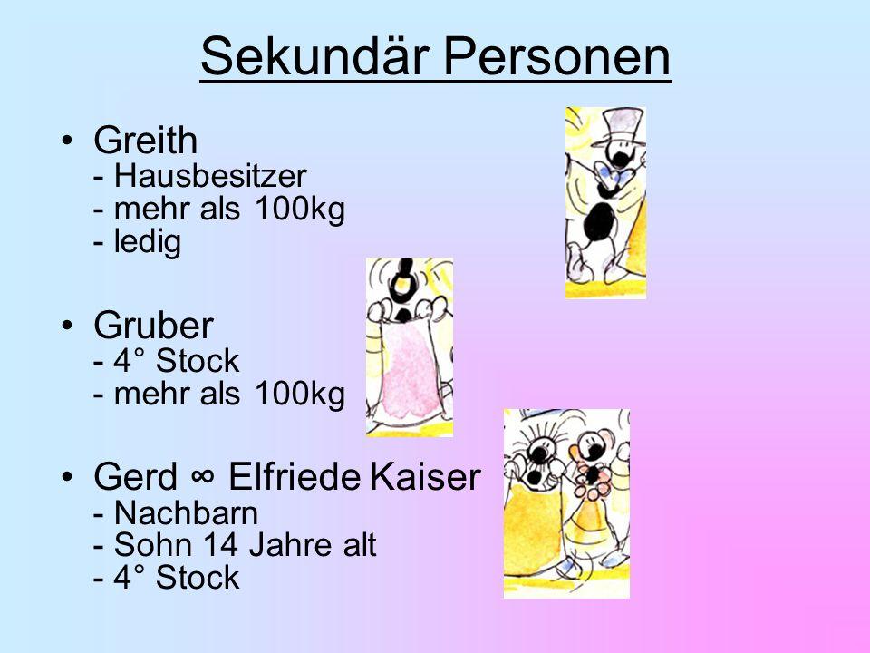 Greith - Hausbesitzer - mehr als 100kg - ledig Gruber - 4° Stock - mehr als 100kg Gerd Elfriede Kaiser - Nachbarn - Sohn 14 Jahre alt - 4° Stock