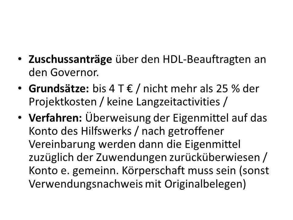 Zuschussanträge über den HDL-Beauftragten an den Governor. Grundsätze: bis 4 T / nicht mehr als 25 % der Projektkosten / keine Langzeitactivities / Ve