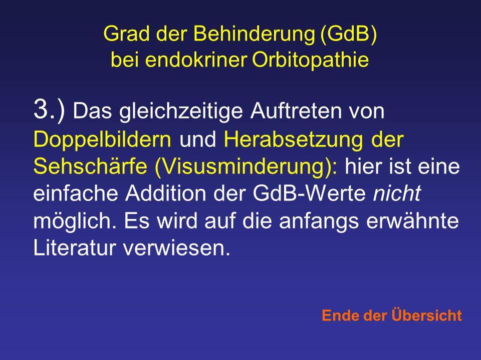 Grad der Behinderung (GdB) bei endokriner Orbitopathie 3.) Das gleichzeitige Auftreten von Doppelbildern und Herabsetzung der Sehschärfe (Visusminderu