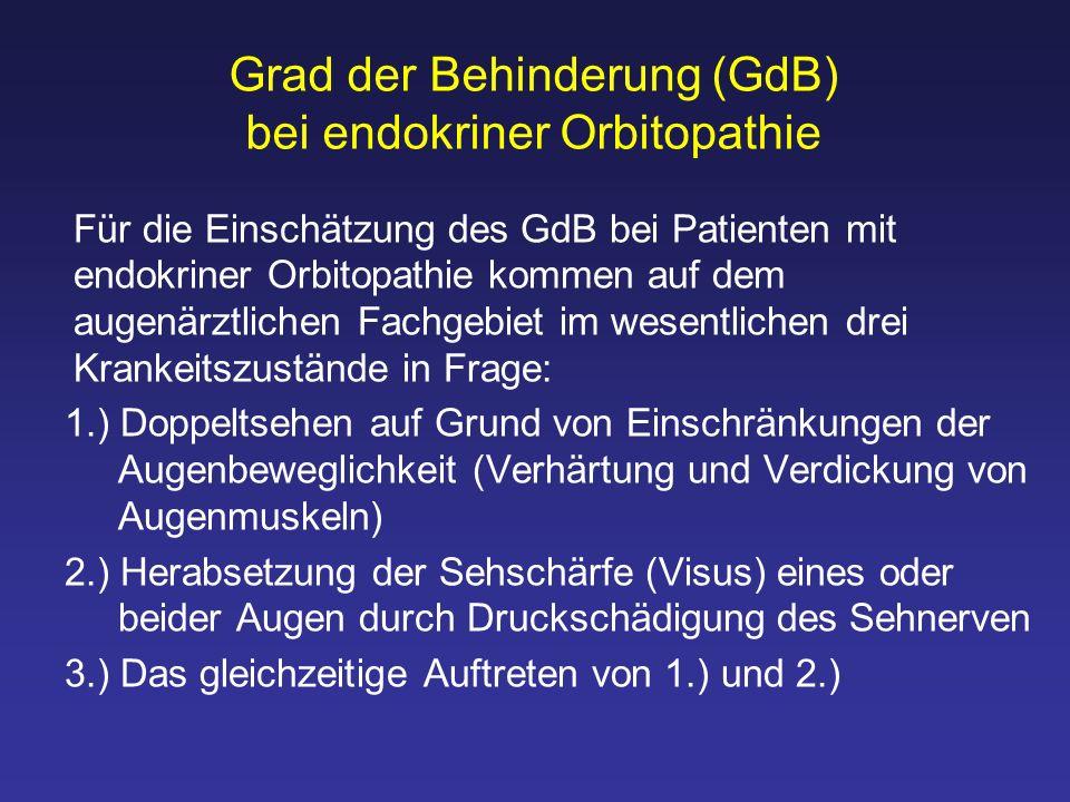 Grad der Behinderung (GdB) bei endokriner Orbitopathie Für die Einschätzung des GdB bei Patienten mit endokriner Orbitopathie kommen auf dem augenärzt