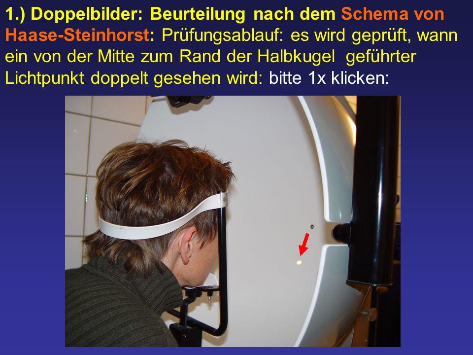 1.) Doppelbilder: Beurteilung nach dem Schema von Haase-Steinhorst: Prüfungsablauf: es wird geprüft, wann ein von der Mitte zum Rand der Halbkugel gef