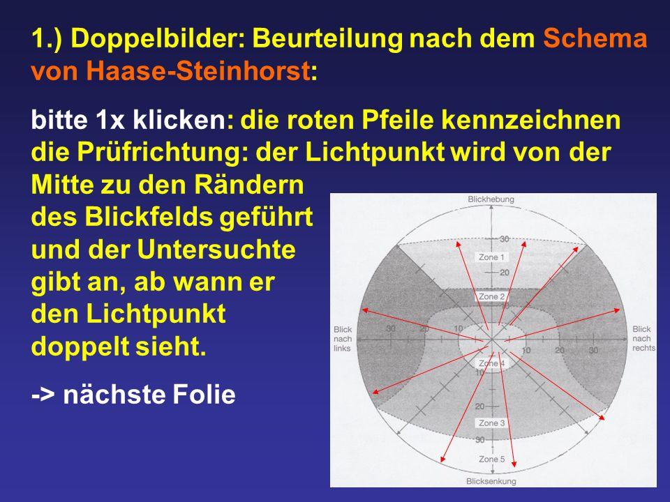 1.) Doppelbilder: Beurteilung nach dem Schema von Haase-Steinhorst: bitte 1x klicken: die roten Pfeile kennzeichnen die Prüfrichtung: der Lichtpunkt w