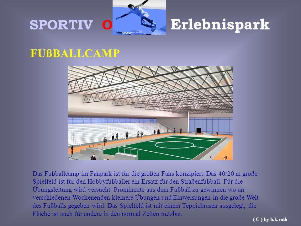 SPORTIV O Erlebnispark FUßBALLCAMP Das Fußballcamp im Fanpark ist für die großen Fans konzipiert. Das 40/20 m große Spielfeld ist für den Hobbyfußball