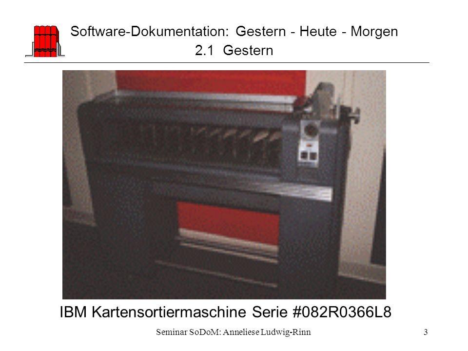 Seminar SoDoM: Anneliese Ludwig-Rinn3 Software-Dokumentation: Gestern - Heute - Morgen 2.1 Gestern IBM Kartensortiermaschine Serie #082R0366L8
