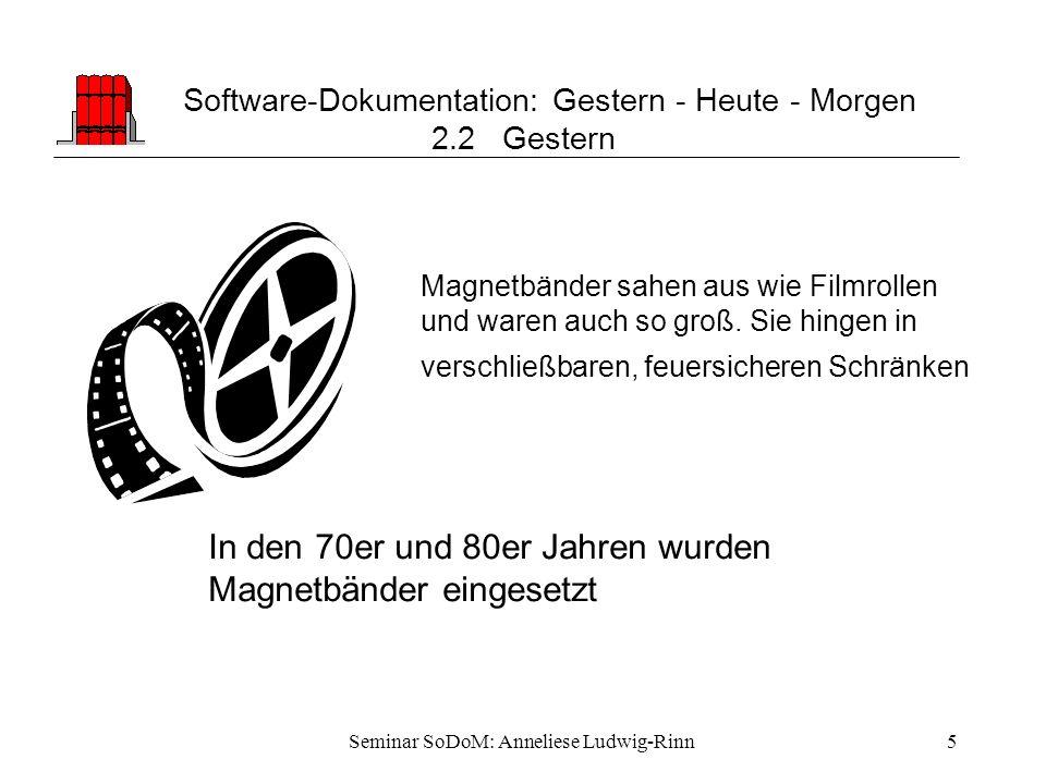 Seminar SoDoM: Anneliese Ludwig-Rinn5 Software-Dokumentation: Gestern - Heute - Morgen 2.2 Gestern In den 70er und 80er Jahren wurden Magnetbänder ein