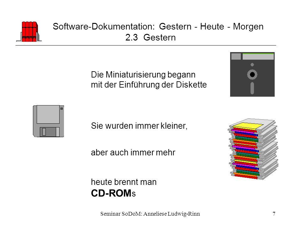Seminar SoDoM: Anneliese Ludwig-Rinn7 Software-Dokumentation: Gestern - Heute - Morgen 2.3 Gestern Die Miniaturisierung begann mit der Einführung der