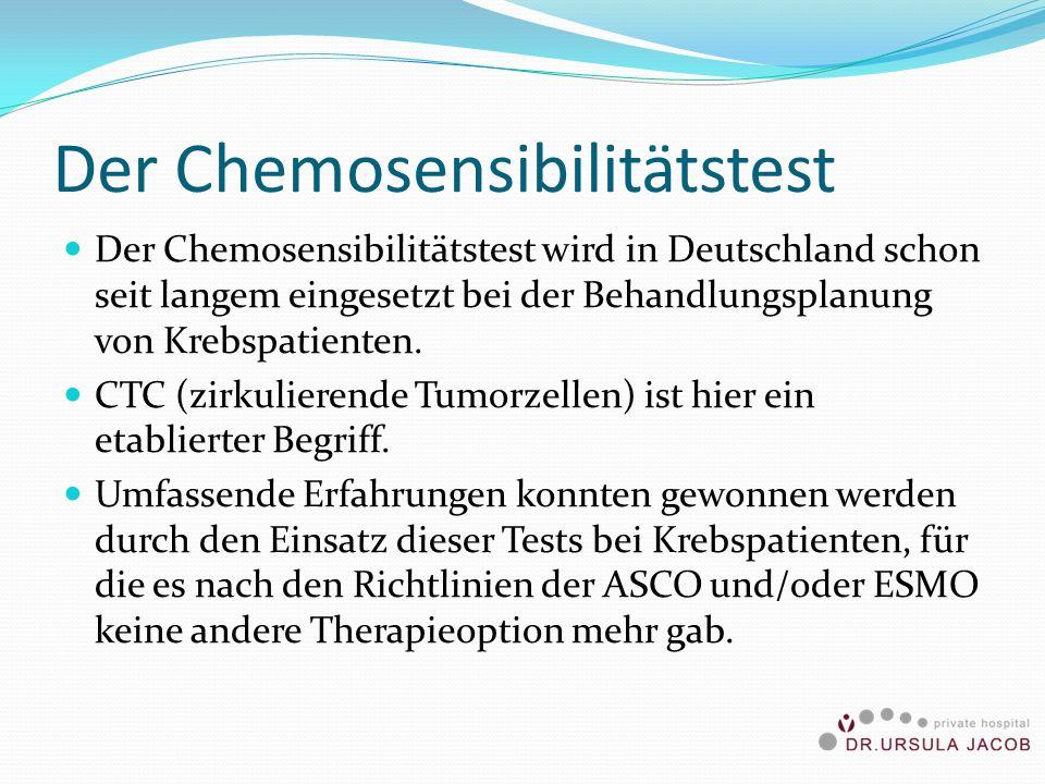 Der Chemosensibilitätstest Der Chemosensibilitätstest wird in Deutschland schon seit langem eingesetzt bei der Behandlungsplanung von Krebspatienten.