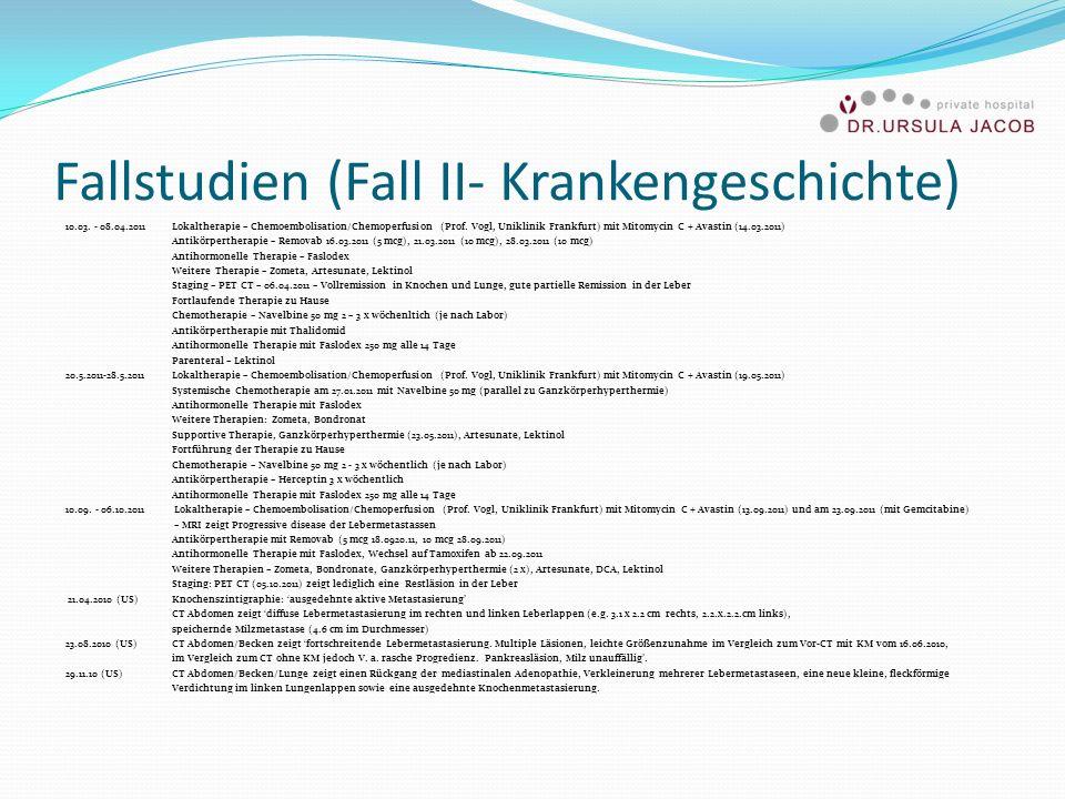 Fallstudien (Fall II- Krankengeschichte) 10.03. - 08.04.2011Lokaltherapie – Chemoembolisation/Chemoperfusion (Prof. Vogl, Uniklinik Frankfurt) mit Mit