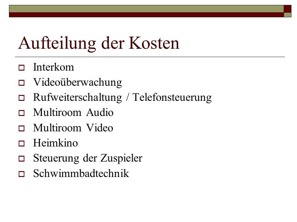 Interkom Videoüberwachung Rufweiterschaltung / Telefonsteuerung Multiroom Audio Multiroom Video Heimkino Steuerung der Zuspieler Schwimmbadtechnik Auf