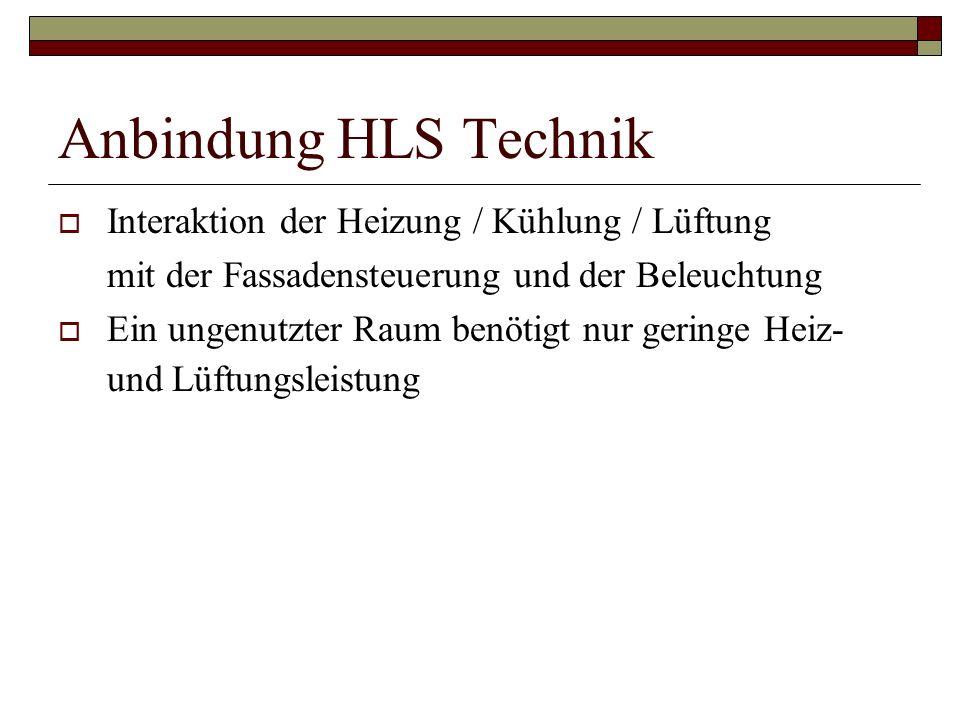 Anbindung HLS Technik Interaktion der Heizung / Kühlung / Lüftung mit der Fassadensteuerung und der Beleuchtung Ein ungenutzter Raum benötigt nur geri