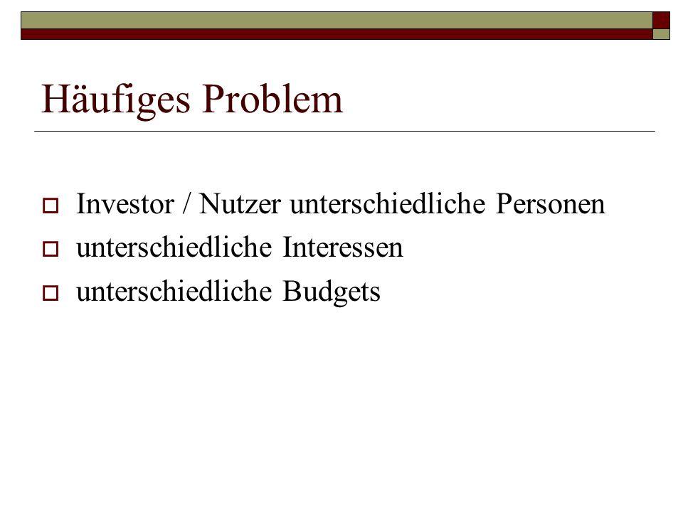 Häufiges Problem Investor / Nutzer unterschiedliche Personen unterschiedliche Interessen unterschiedliche Budgets