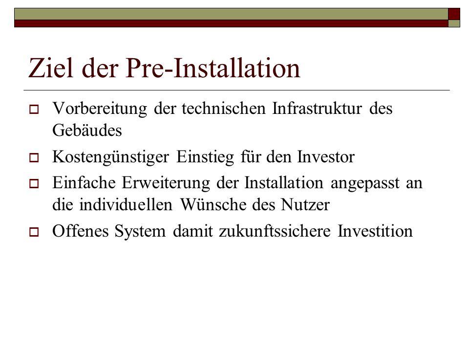 Ziel der Pre-Installation Vorbereitung der technischen Infrastruktur des Gebäudes Kostengünstiger Einstieg für den Investor Einfache Erweiterung der I