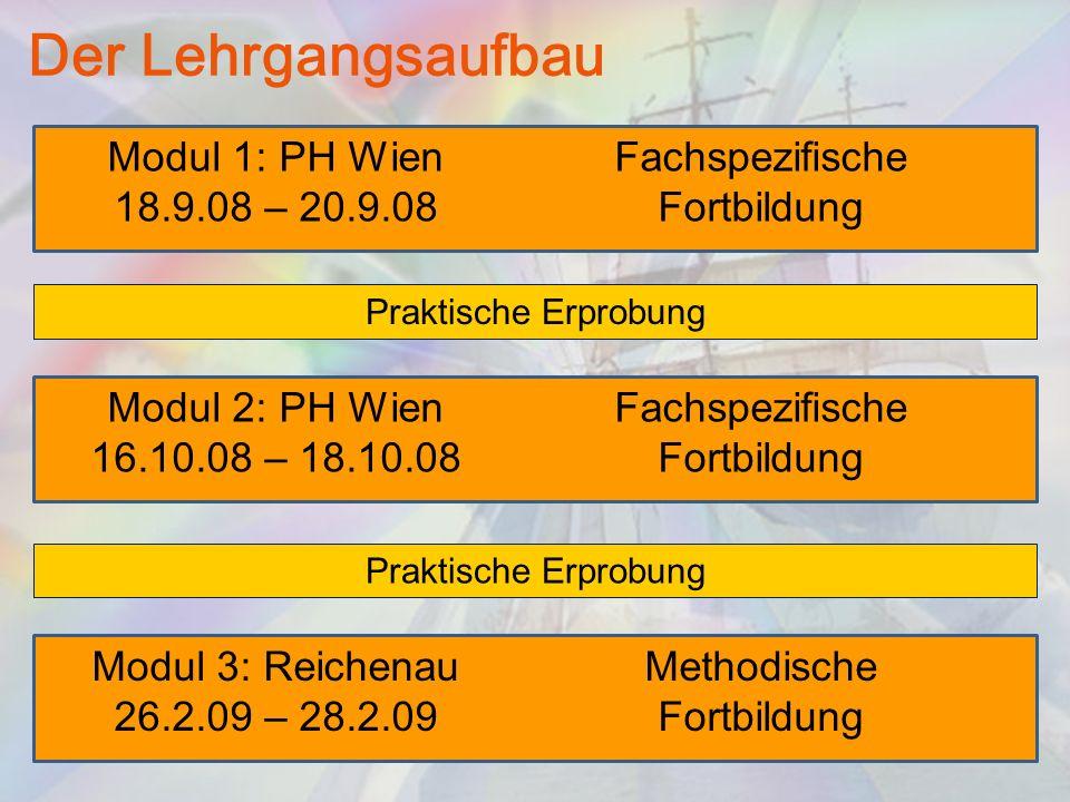 Der Lehrgangsaufbau Modul 1: PH Wien 18.9.08 – 20.9.08 Fachspezifische Fortbildung Modul 2: PH Wien 16.10.08 – 18.10.08 Fachspezifische Fortbildung Mo