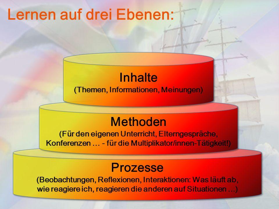 Lernen auf drei Ebenen: Prozesse (Beobachtungen, Reflexionen, Interaktionen: Was läuft ab, wie reagiere ich, reagieren die anderen auf Situationen...)