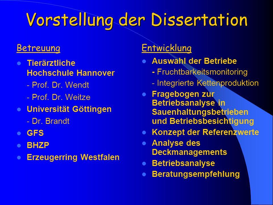 Vorstellung der Dissertation Tierärztliche Hochschule Hannover - Prof. Dr. Wendt - Prof. Dr. Weitze Universität Göttingen - Dr. Brandt GFS BHZP Erzeug