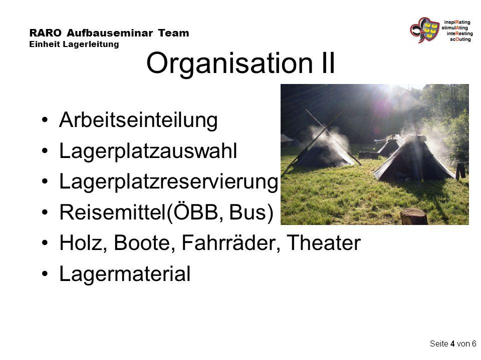 Organisation II Arbeitseinteilung Lagerplatzauswahl Lagerplatzreservierung Reisemittel(ÖBB, Bus) Holz, Boote, Fahrräder, Theater Lagermaterial RARO Au