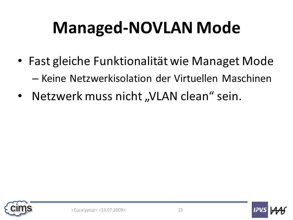25 cims Managed-NOVLAN Mode Fast gleiche Funktionalität wie Managet Mode – Keine Netzwerkisolation der Virtuellen Maschinen Netzwerk muss nicht VLAN clean sein.