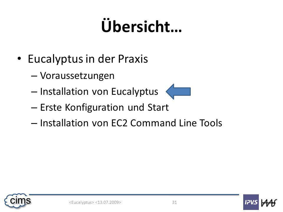 31 cims Übersicht… Eucalyptus in der Praxis – Voraussetzungen – Installation von Eucalyptus – Erste Konfiguration und Start – Installation von EC2 Command Line Tools