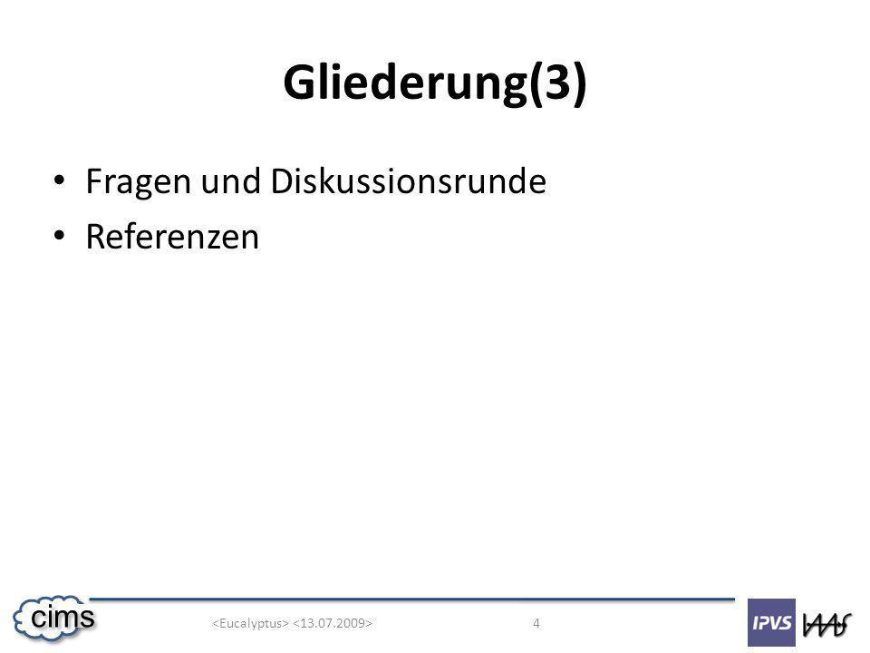 4 cims Gliederung(3) Fragen und Diskussionsrunde Referenzen