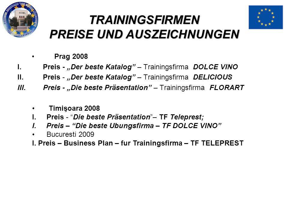 TRAININGSFIRMEN PREISE UND AUSZEICHNUNGEN Prag 2008 I.Preis - Der beste Katalog – Trainingsfirma DOLCE VINO II.Preis - Der beste Katalog – Trainingsfi