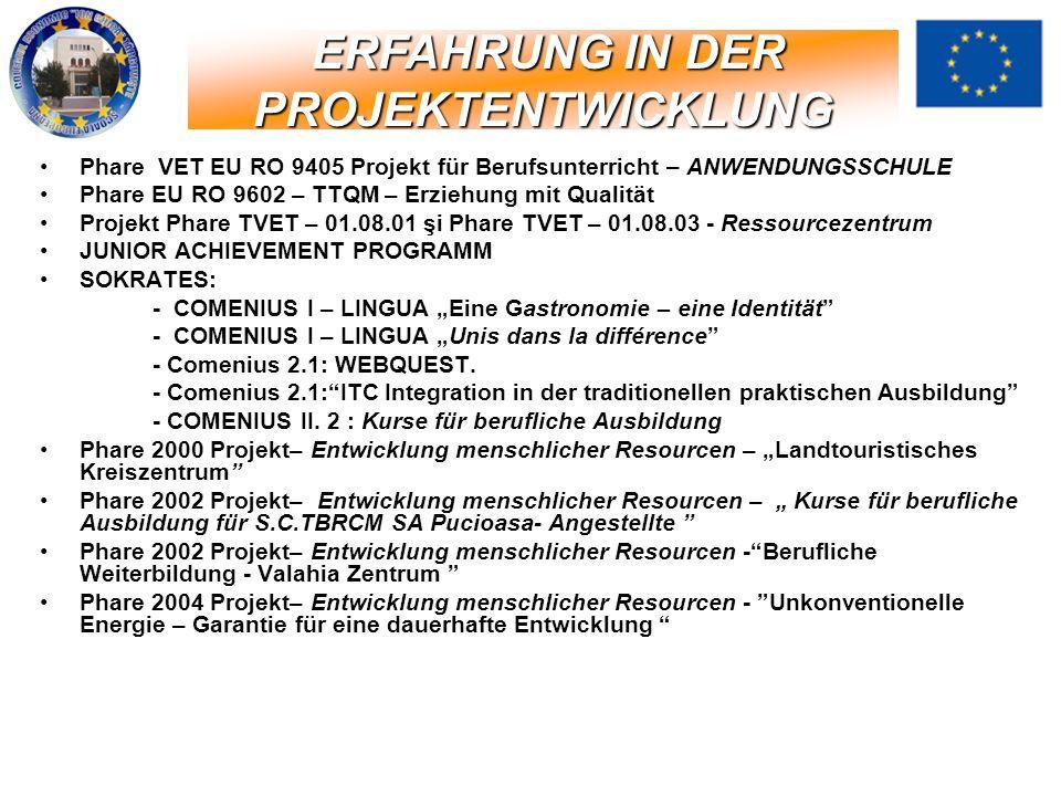 Phare VET EU RO 9405 Projekt für Berufsunterricht – ANWENDUNGSSCHULE Phare EU RO 9602 – TTQM – Erziehung mit Qualität Projekt Phare TVET – 01.08.01 şi